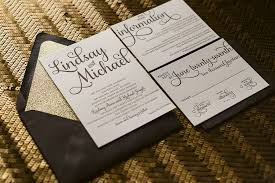 and black wedding invitations real wedding lindsay and michael black tie wedding invitations