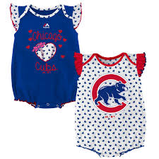 cubs newborn fan club chicago cubs newborn infant royal heart fan 2 piece bodysuit set