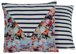 nautical stripe pillow flower print jean paul gaultier
