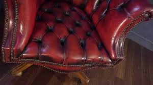 Red Leather Chair Chesterfield Directors Desk Chair Oxblood Red Leather Youtube