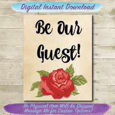 be our guest printable beauty and the beast home decor