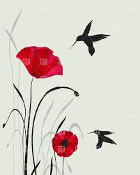 two hummingbird silhouettes and red hand drawn poppies vector