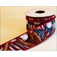 wire edged ribbon white and blue usa baseball wire edged ribbon