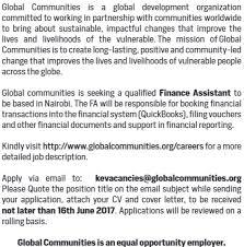 2017 global communities kenya finance assistant job jobspot kenya