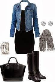 fashionable woman black dress with jean jacket scarf