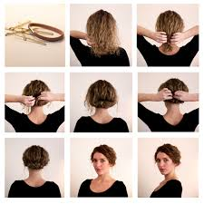 cocktail party updo hairstyles for long curly hair with accessories