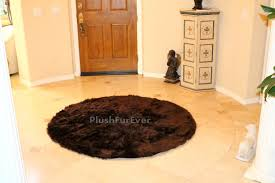 Faux Fur Sheepskin Rug Luxurious Round Faux Fur Area Rug Sheepskin Bearskin Brown