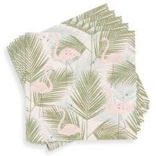 lanterne de sol en papier paquet de 20 serviettes en papier flamant rose maisons du monde