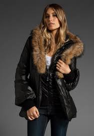 mackage peaches puffy jacket with fur hoodie in black peaches