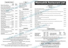 memsahib takeaway menu indian compton takeawaymenu info