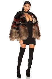 halloween football costumes free people scarlet faux fur jacket in red combo revolve