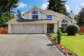 three car garage luxury house exterior with tile roof house with three car garage