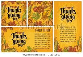 set thanksgiving day poster maple leaf stock vector 492983479