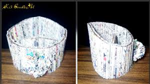 diy how to make newspaper mobile stand pen holder newspaper
