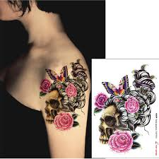 Flower Tattoos On - 85 4 sheets waterproof temporary tattoos paper big
