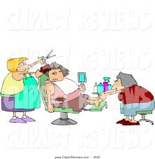 clip art of a chubby spoiled woman getting a pedicure and haircut