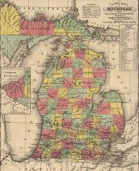 A Map Of Michigan by 1853 Michigan Historical Map Bay Journal