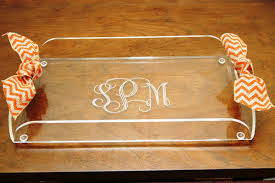 monogrammed tray personalized clear acrylic butlers tray monogrammed acrylic tray
