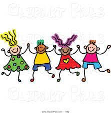 pal clipart of a childs sketch of boys and girls holding hands in