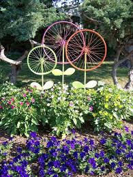 bicycle wheel garden art by the hanky dress lady and other super