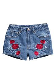 American Flag Jean Shorts Men Embroidered Denim Shorts Denim Blue Sale H U0026m Us