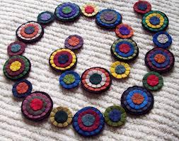 primitive rug garland wool felt handmade reusable banner