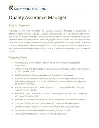 Resume Job Description by Resume Quality Assurance Manager Http Jobresumesample Com 1583