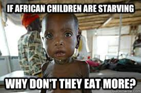 Funny African Memes - if african children are starving why don t they eat more