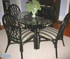 Rattan Kitchen Table by Kammy U0027s Korner Rattan Dining Chairs Makeover Image Transfer With