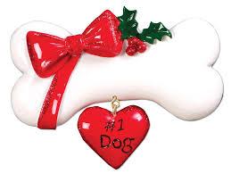 dog bone w bow u2013 personalized ornaments