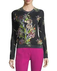 no 21 crewneck multicolor floral print sweater with sequins