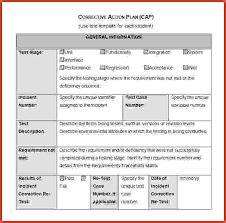 corrective action plan sample corrective action plan template jpeg