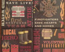 Firefighter Home Decorations Firefighter Coaster Etsy