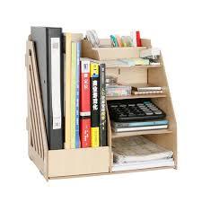 organiseur de bureau en bois 1 set diy naturel couleur bois document plateaux accessoires de