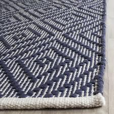 Flat Weave Runner Rugs Safavieh Woven Montauk Flatweave Navy Ivory Cotton Runner
