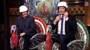 tim allen and jimmy fallon race on thanksgiving turkey scooters on