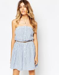 asos seersucker button through beach dress multi in blue lyst