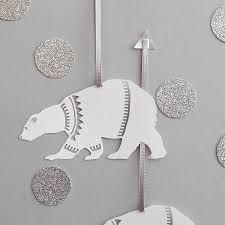 set of six papercut polar decorations by louise