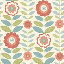 arthouse wallpaper flower power coral and teal teal wallpaper