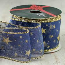 navy blue wired ribbon navy and gold wired ribbon ribbon and trims craft supplies
