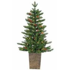 sterling 4 ft pre lit potted tower artificial tree with