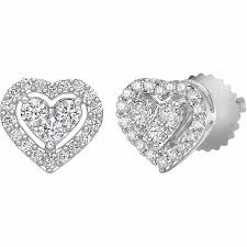 heart shaped diamond earrings brilliant heart shaped diamond earrings 0 27 ctw