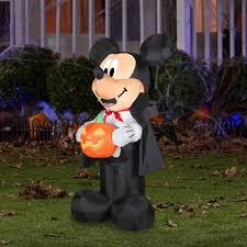 Outdoor Lighted Halloween Decorations 4 U0027 Airblown Outdoor Mickey Vampire W Pum Walmart Com