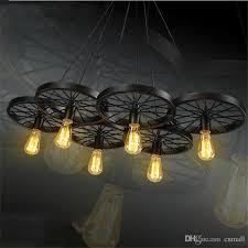 Vintage Light Bulb Pendant Loft Retro Iron Light Bicycle Wheels Pendant Lights Vintage
