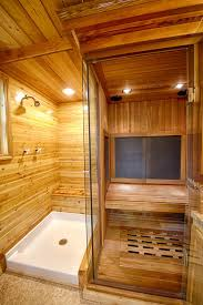 how to make a bathroom in the basement captivating wooden bathroom how to make a sauna in your bathroom