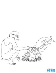 homo erectus cooking meat coloring pages hellokids com