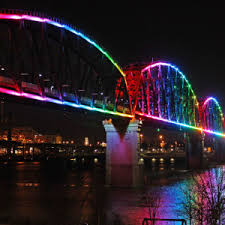 four lights big four bridge lights the night with color louisville