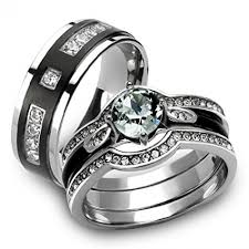 stainless steel wedding ring sets his hers 4 pcs black ip stainless steel cz wedding ring set mens