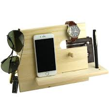 charging station organizer lemo hand wooden phone docking station with key holder pen