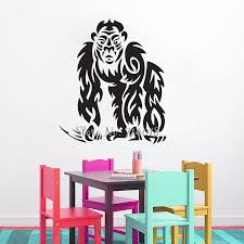 popular jungle wall stickers buy cheap jungle wall stickers lots tribal gorilla wall decal king of the jungle wall sticker vinyl home decor kids bedroom wallpaper